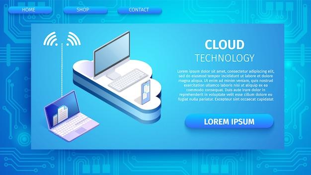 Dispositivos conectados à nuvem via banner da internet.
