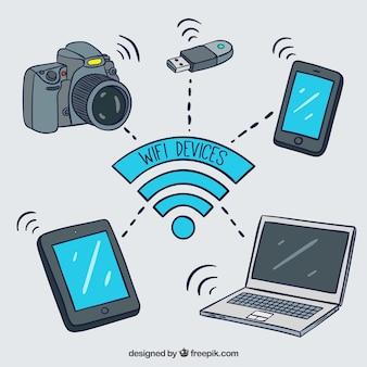 Dispositivos conectados por wifi com estilo desenhado a mão