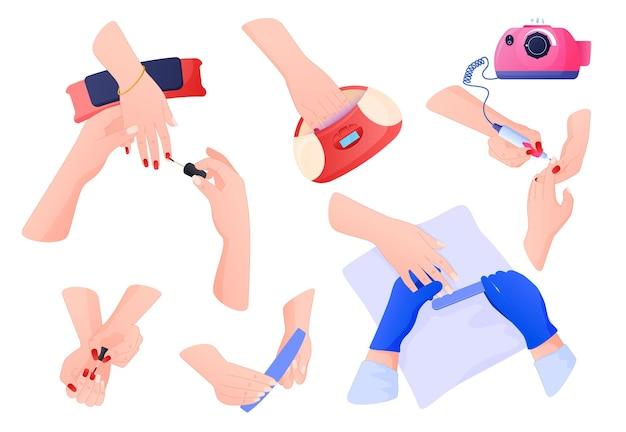 Dispositivos cosméticos, autocuidado. mãos em poses diferentes fazem manicure, aplicam esmalte, lixa de unha.
