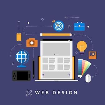 Dispositivos de layout de desenvolvimento de design de web de conceito de design plano em várias telas.