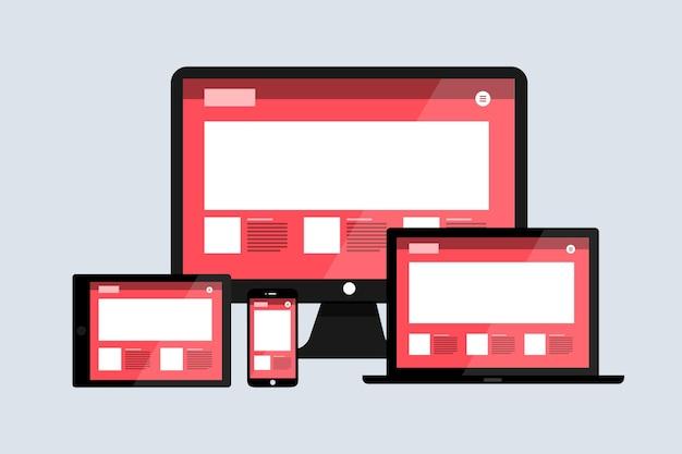 Dispositivos de layout de desenvolvimento de web design responsivo de conceito plano em várias telas.