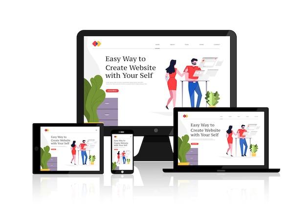 Dispositivos de layout de desenvolvimento de web design responsivo em conceito de design plano em várias telas.