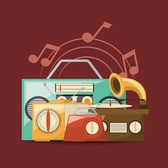 Dispositivos de música retro sobre fundo vermelho