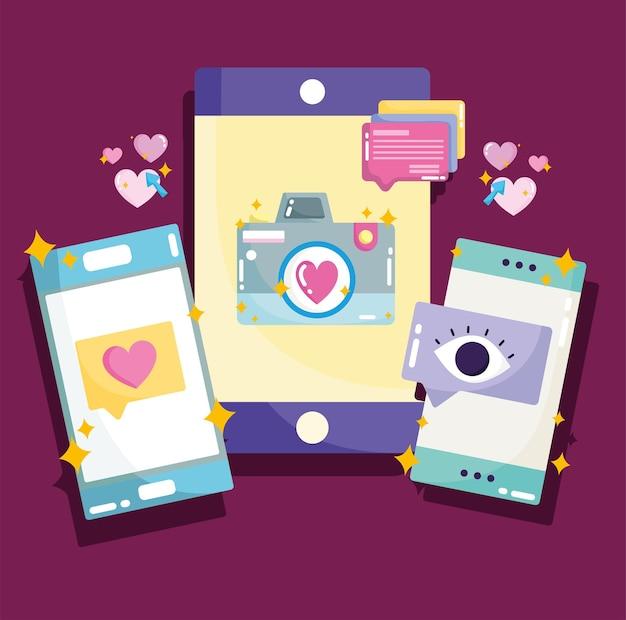 Dispositivos de smartphone de mídia social acompanham visualizações mensagem chat ilustração