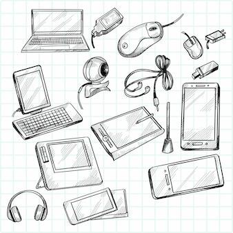 Dispositivos desenhados à mão doodle desenho cenografia
