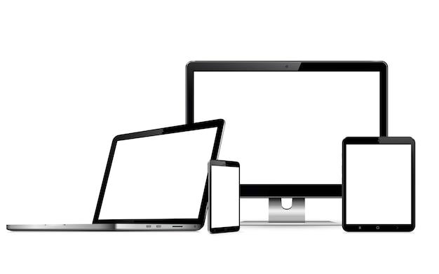 Dispositivos digitais com tela em branco