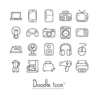 Dispositivos domésticos. doodle fofo ícones.