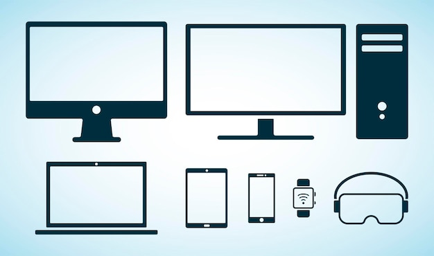 Dispositivos e computadores electorinc. ícones planos. coleção de vetores