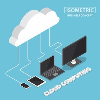 Dispositivos eletrônicos isométricos conectando com a nuvem