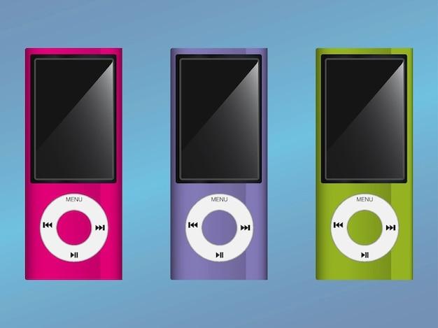 Dispositivos ipods coloridos exibir a tela