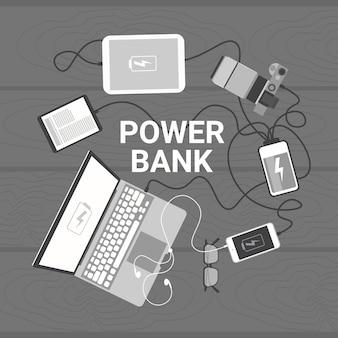 Dispositivos modernos que cobrem da opinião de andle da parte superior do banco do poder, conceito móvel do carregador da bateria portátil
