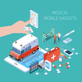 Dispositivos móveis médicos para monitoramento de saúde e chamar a composição isométrica de ambulância em turquesa