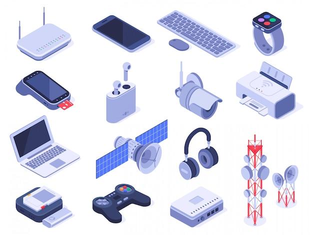 Dispositivos sem fio isométricos. gadgets de conexão de computador, controle remoto de conexão sem fio e conjunto de dispositivos de roteador