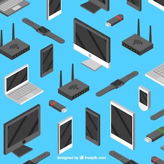 Dispositivos tecnológicos com design plano