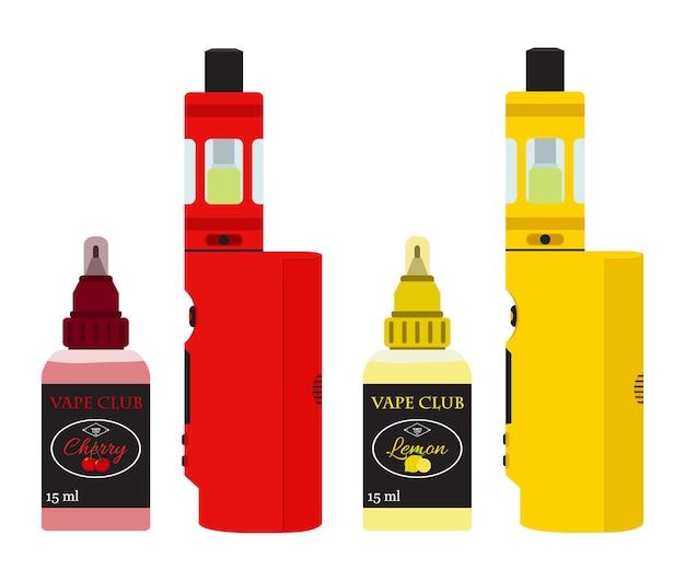 Dispositivos vape brilhantes com suco vaping em garrafas