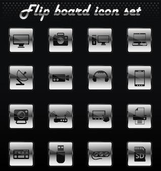 Dispositivos vetoriais ícones flip mechanical para design de interface de usuário