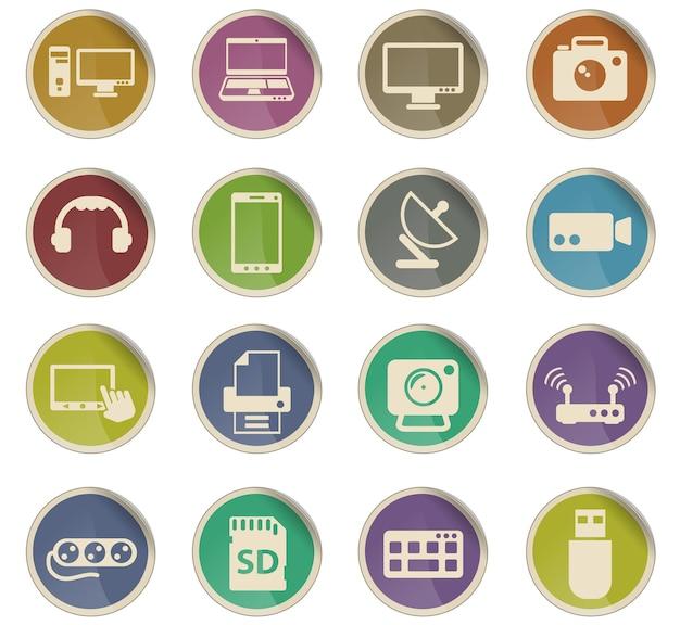 Dispositivos vetoriais ícones na forma de etiquetas redondas de papel
