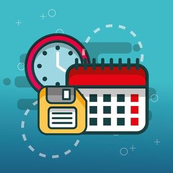 Disquete de calendário e relógio