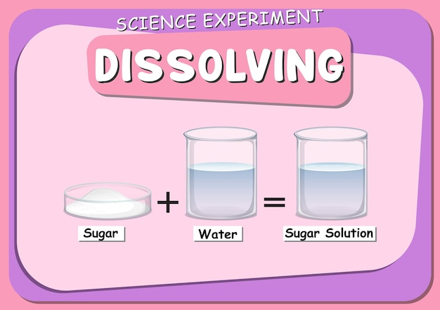 Dissolvendo o experimento científico com o açúcar dissolvido na água