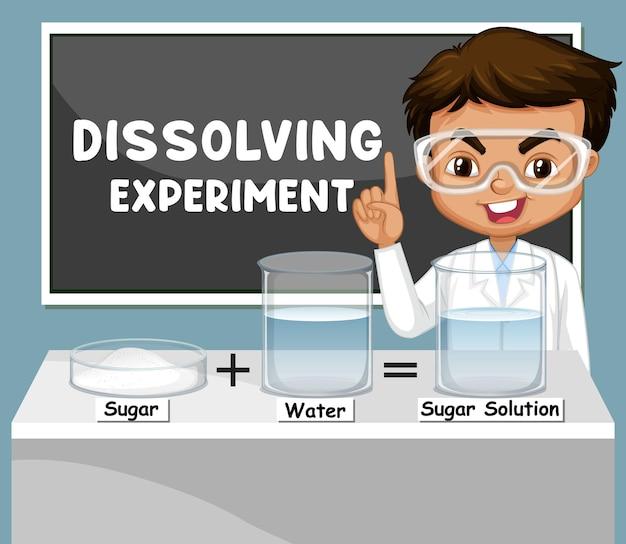 Dissolvendo o experimento com o personagem de desenho animado de crianças cientistas
