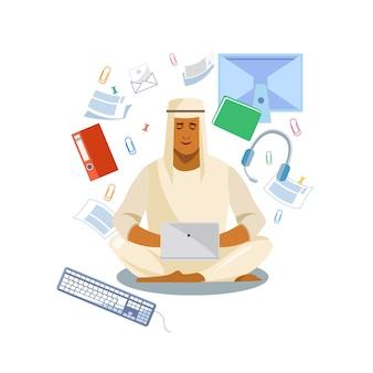 Distância de homem árabe trabalhando com vetor de laptop