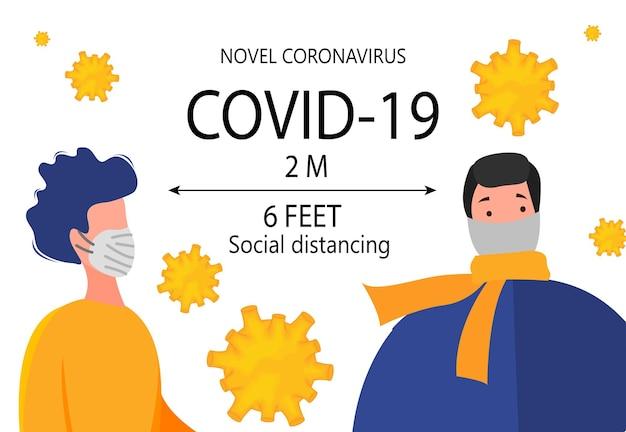 Distância segura de dois metros entre pessoas durante surto de coronavirus 2019-ncov isolado em um fundo branco. conceito de epidemiologia pandêmica. ilustração em vetor plana.
