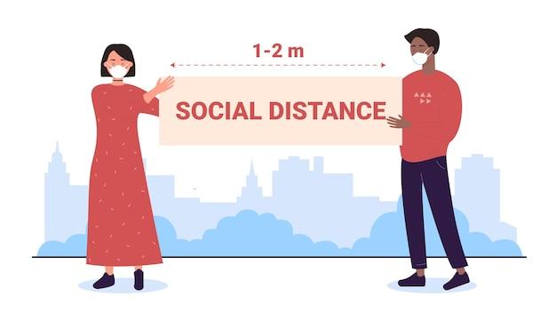 Distância social ao ar livre, personagens de desenhos animados homem mulher com máscaras se distanciando, segurando banner