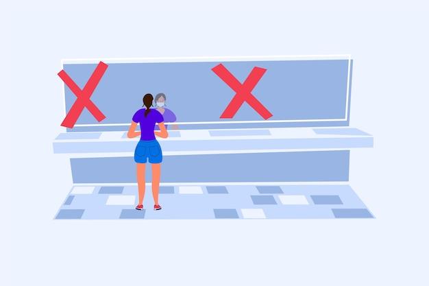 Distância social em banheiros públicos