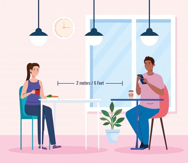 Distância social em restaurante novo conceito, casal comendo em mesas, proteção, prevenção de coronavírus secreto 19