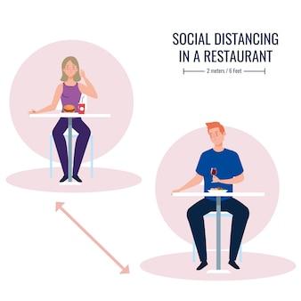 Distância social em restaurante novo conceito, casal em mesas, proteção, prevenção de coronavírus secreto 19