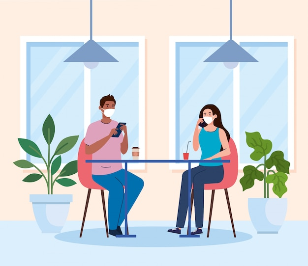 Distância social em restaurante novo conceito, casal na mesa, proteção e prevenção de coronavírus secreto 19