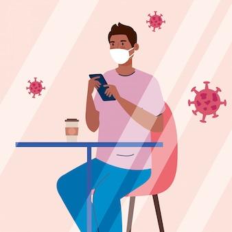 Distância social em restaurante novo conceito, homem afro na mesa, proteção, prevenção de coronavírus secreto 19