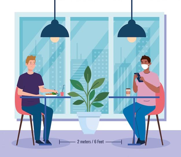 Distância social em restaurante novo conceito, homens do grupo nas mesas, proteção, prevenção de coronavírus secreto 19