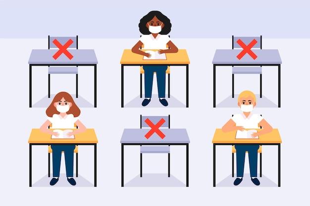 Distância social em sala de aula nova normal