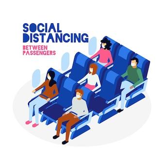 Distância social entre o design de passageiros