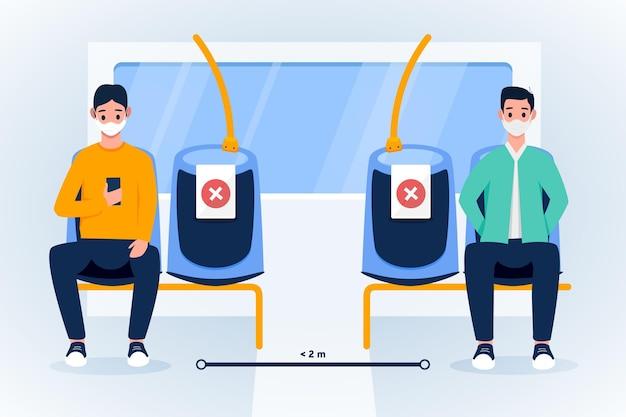 Distância social entre passageiros em transporte público