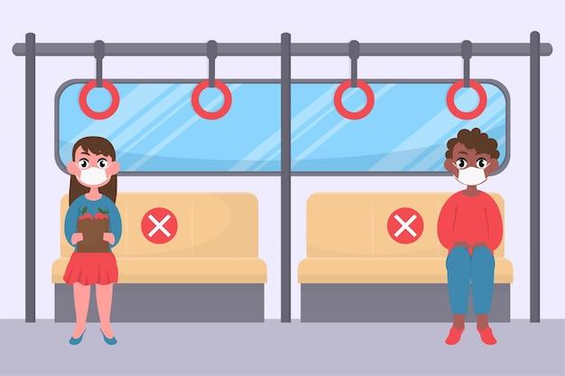 Distância social entre passageiros em transporte