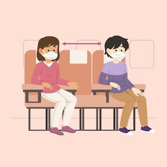 Distância social entre passageiros