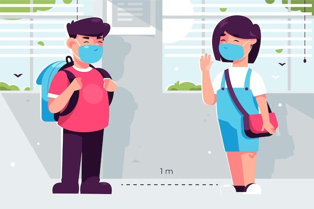 Distância social na ilustração da escola