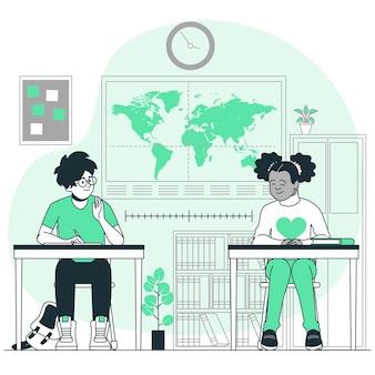 Distância social na ilustração do conceito de escola