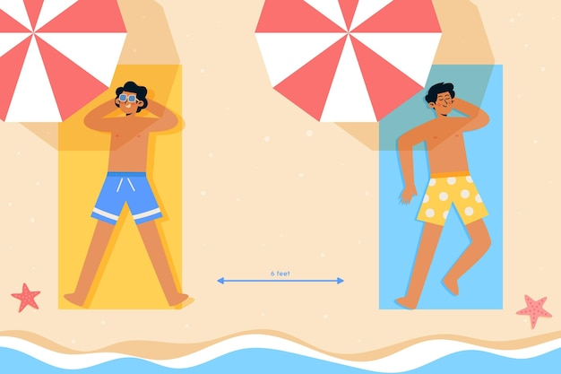 Distância social na praia ilustrada