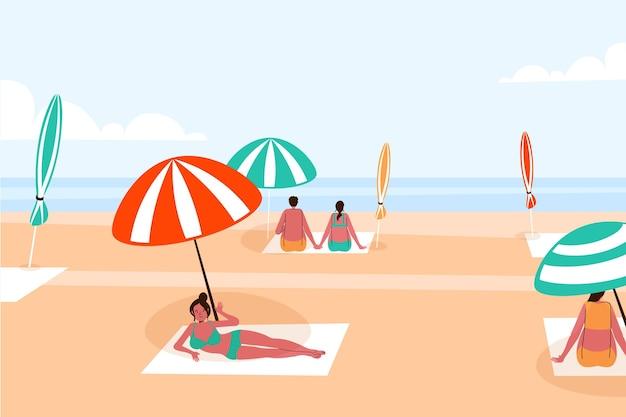 Distância social na praia