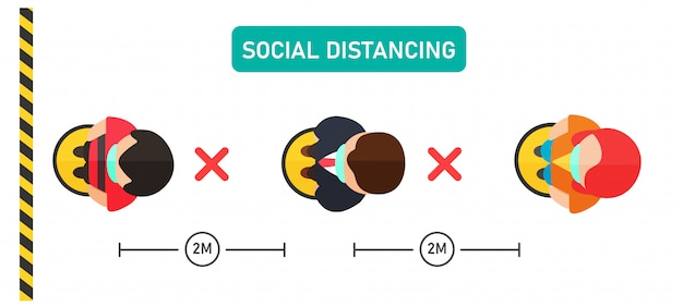 Distância social. vector as pessoas na vista superior ficam na fila para comprar produtos com espaçamento.