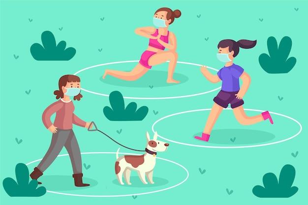 Distanciamento social ao ar livre em parques