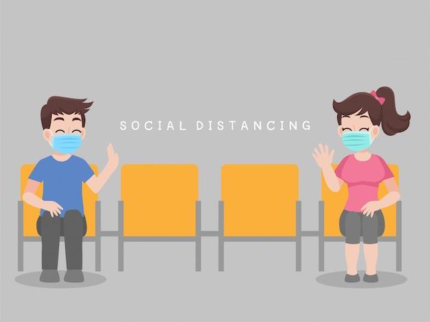 Distanciamento social, as pessoas sentam-se na cadeira mantendo distância para risco de infecção e doença