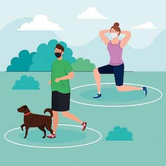 Distanciamento social, casal usando máscara médica, mulher e homem praticando esporte no parque com animais de estimação, prevenção de covid de coronavírus 19