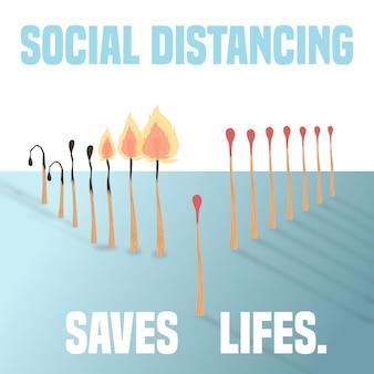 Distanciamento social com conceito de correspondências