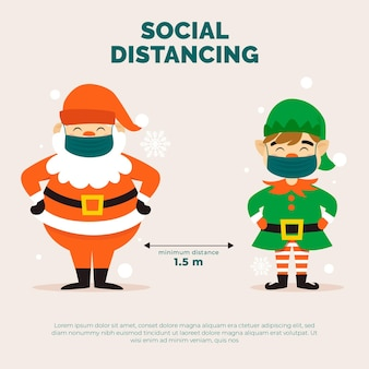Distanciamento social com personagens de natal
