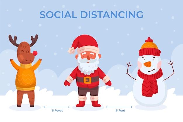 Distanciamento social com personagens de natal