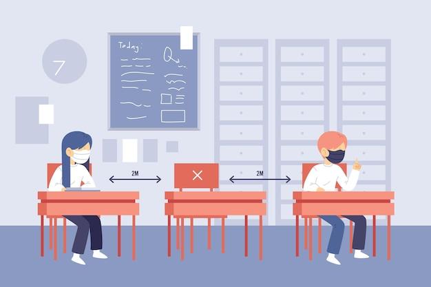 Distanciamento social de crianças na escola ilustrado